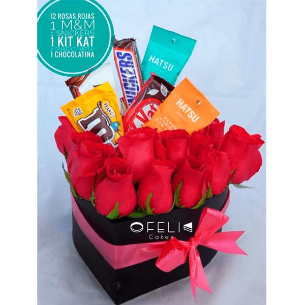 corazon de rosas y chocolates